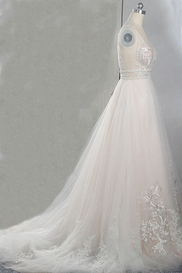 BMbridal Sexy Deep-V-Neck Sleeveless Tulle Wedding Dress Ruffles Appliques Beadings Bridal Gowns with Sash On Sale_4