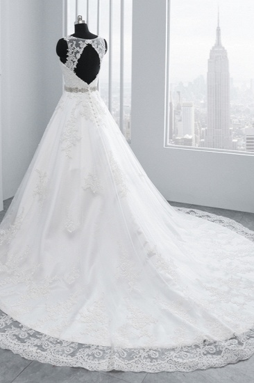 BMbridal Simple Jewel Tulle Lace Wedding Dress A-Line Appliques Beadings Bridal Gowns with Sash Online_5