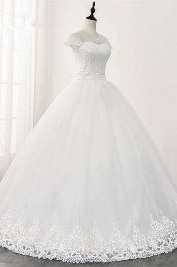 Chic Ball Gown Jewel White Tulle Lace Wedding Dress Short Sleeves Rhinestones Bridal Gowns Online_5