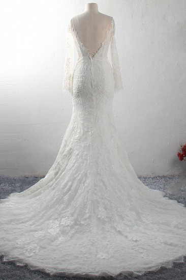 Elegant V-neck Tulle Lace Wedding Dress Long Sleeves Mermaid Appliques Bridal Gowns with Beadings Online_3