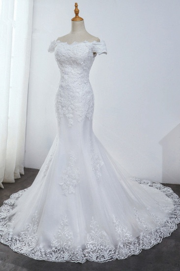 Affordable Off-the-Shoulder Mermaid White Wedding Dress Short Sleeves Tulle Appliques Bridal Gowns On Sale_5