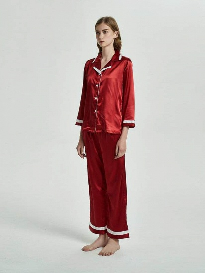 BMbridal Burgundy Matching Pajamas Sets with Long Sleeves On Sale_1