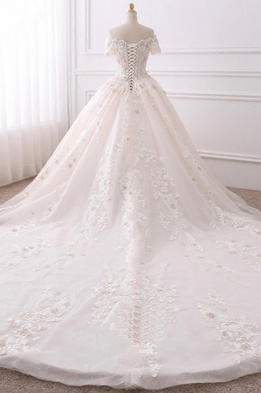 Ball Gown V-Neck Tulle Beadings Wedding Dress Lace Appliques Short Sleeves Bridal Gowns with Flowers On Sale_3