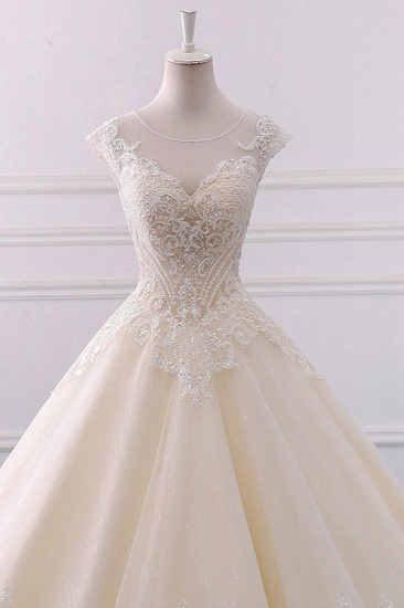 BMbridal Gorgeous Jewel Lace Appliques Wedding Dress Sleeveless Beadings Bridal Gowns with Sequins Online_4