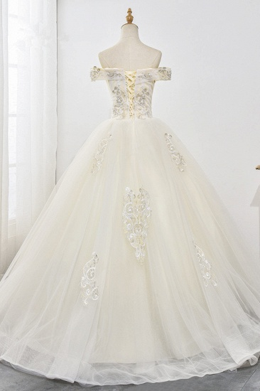Gorgeous Off-the-Shoulder Champagne Tulle Wedding Dress Ball Gown Lace Appliques Sleeveless Bridal Gowns Online_3