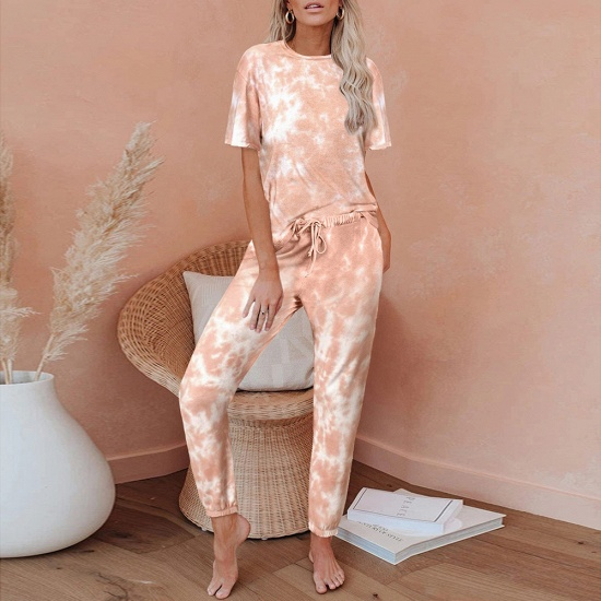 Tie-dye Short-sleeved Pajamas Women Printing Comfortable Ladies Home Wear_1