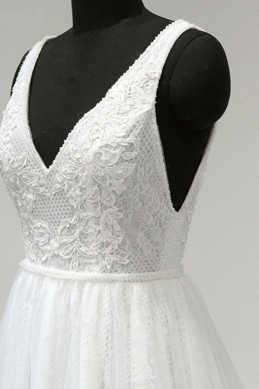 BMbridal Chic Straps V-Neck White Tulle Lace Wedding Dress Sleeveless Ruffles Bridal Gowns On Sale_6
