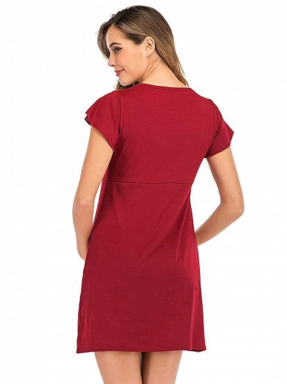 BMbridal Fashion Casual A-Line Lace Maternity Dress with Short Sleeves_2