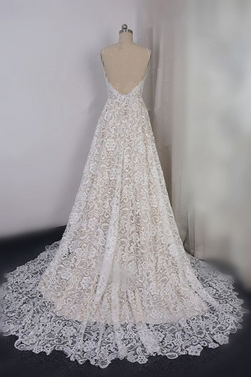 BMbridal Chic Spaghetti Straps V-Neck Lace Wedding Dress A-Line Sleeveless Long Bridal Gowns On Sale_3
