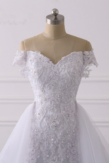 Elegant Off-the-Shoulder Tulle Lace Wedding Dress Sweetheart Appliques Beadings Sleeveless Bridal Gowns On Sale_6