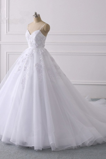 BMbridal Glamorous Spaghetti Straps V-Neck Tulle Wedding Dress Ball Gown Ruffles Appliques Bridal Gowns Online_4