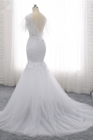 Elegant Jewel Sleeveless White Tulle Wedding Dress Mermaid Lace Beading Bridal Gowns On Sale_5