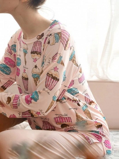 BMbridal Lovely Long Sleeve Home Wear Modal Two-piece Pajamas with Cartoon Printed_4