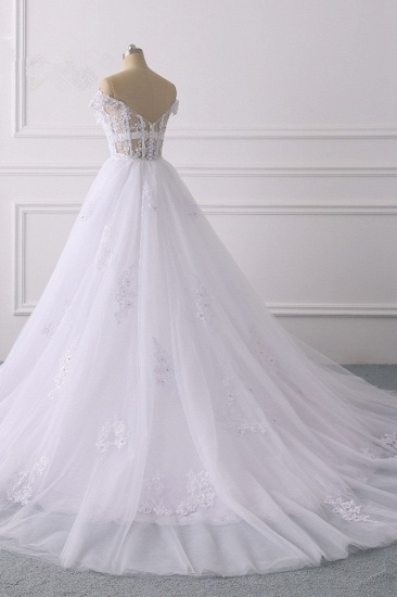 Elegant Off-the-Shoulder Tulle Lace Wedding Dress Sweetheart Appliques Beadings Sleeveless Bridal Gowns On Sale_5