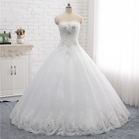 Affordable S-Line Sweetheart Tulle Rhinestones Wedding Dress Lace Appliques Sleeveless Bridal Gowns Online_6