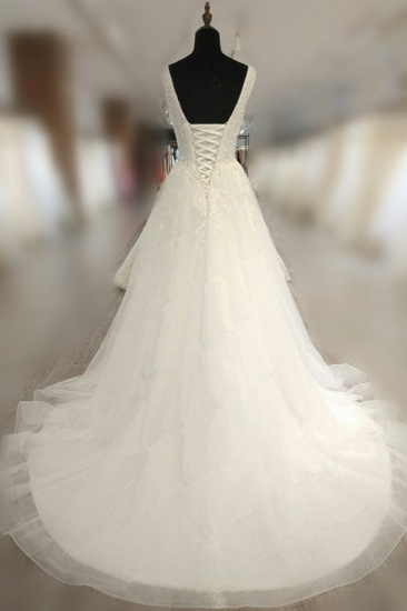 BMbridal Glamorous White Tulle Lace Wedding Dress V-Neck Sleeveless Appliques Bridal Gowns On Sale_3