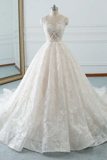 Elegant Jewel White Tulle Lace Wedding Dress Sleeveless Appliques A-Line Bridal Gowns Online_1