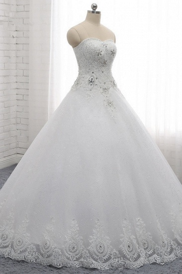 Affordable S-Line Sweetheart Tulle Rhinestones Wedding Dress Lace Appliques Sleeveless Bridal Gowns Online_3