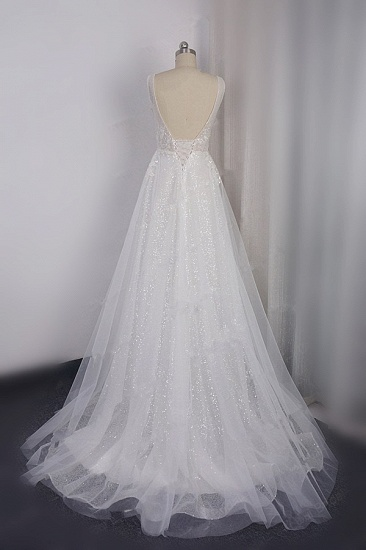 Sparkly Sequined V-Neck Wedding Dress Tulle Sleeveless Beadings Bridal Gowns On Sale_3