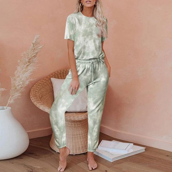 BMbridal Tie-dye Short-sleeved Pajamas Women Printing Comfortable Ladies Home Wear_4