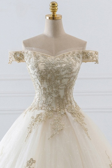 Chic Off-the-Shoulder White Tulle Wedding Dress Sweetheart Sleeveless Champagne Appliques Bridal Gowns Online_5