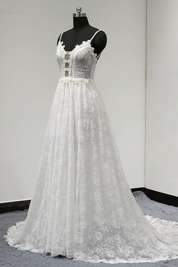 Sexy V-neck Tulle Lace Wedding Dress Spaghetti Straps V-Neck Appliques Bridal Gowns Online