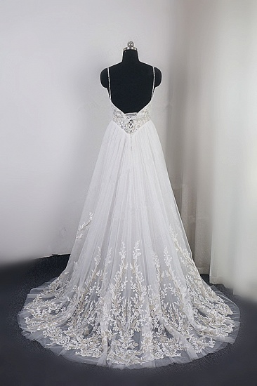 Elegant Spaghetti Straps Tulle Lace Wedding Dress V-Neck Appliques See Through Top Bridal Gowns_3