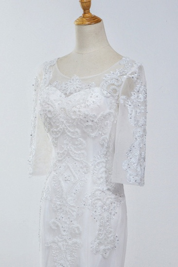 Elegant Jewel 3/4 Sleeves Mermaid White Wedding Dress Tulle Lace Appliques Beadings Bridal Gowns On Sale_7