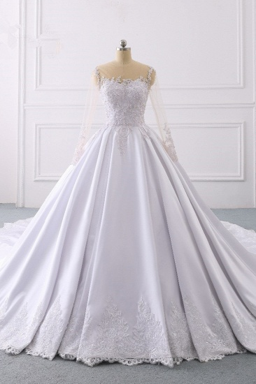 Glamorous Ball Gown Jewel Satin Tulle Wedding Dress Long Sleeves Ruffles Lace Bridal Gowns Online_1
