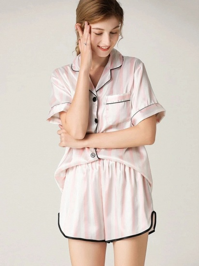 Fashion Sexy Women Summer Lapel Silk Home Pajamas with Short Sleeves_3
