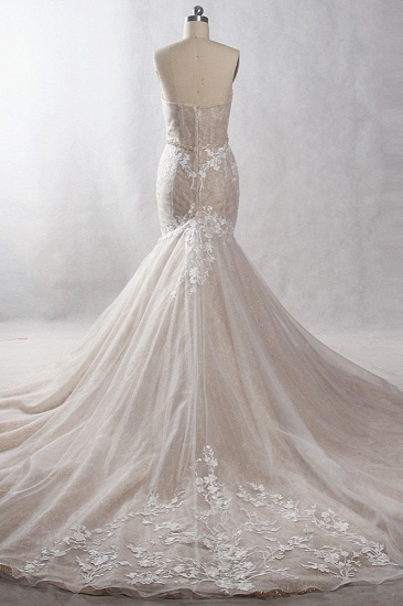 Chic Strapless Tulle Sequins Mermaid Wedding Dress Sleeveless Appliques Beadings Bridal Gowns On Sale_3