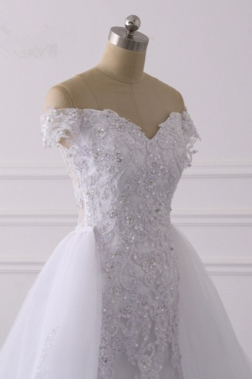 BMbridal Elegant Off-the-Shoulder Tulle Lace Wedding Dress Sweetheart Appliques Beadings Sleeveless Bridal Gowns On Sale_7