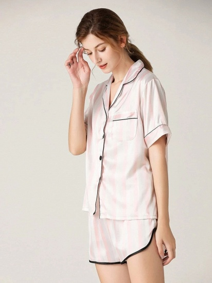 Fashion Sexy Women Summer Lapel Silk Home Pajamas with Short Sleeves_1