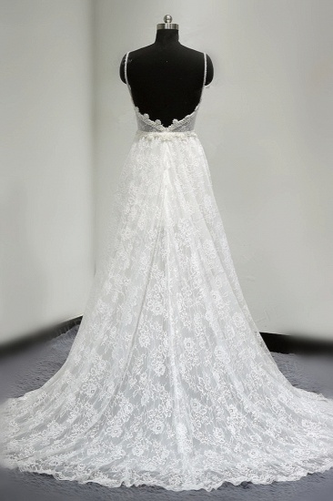 BMbridal Sexy V-neck Tulle Lace Wedding Dress Spaghetti Straps V-Neck Appliques Bridal Gowns Online_3