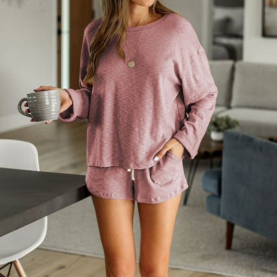 Ladies' Homewear Two-Piece Set Summer Simple & Breathable Round Neck Pajamas_1