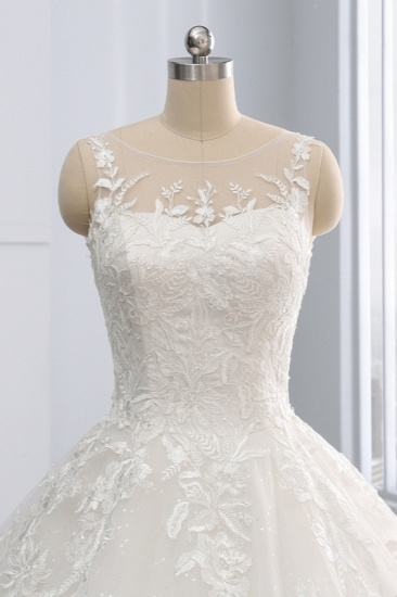 BMbridal Affordable Ball Gown Jewel Tulle Lace Wedding Dress Ruffles Sleeveless Appliques Bridal Gowns Online_6
