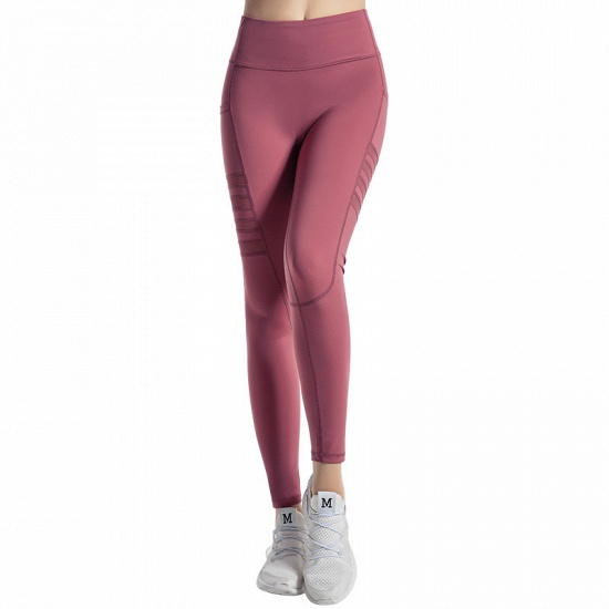 BMbridal Pocket High Waist Yoga Pants Sexy Lady Raising Hips Tight Running Fitness Double Side Brocade Pants High Elasticity_3