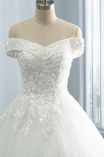Gorgeous Off-the-Shoulder Tulle Appliques Wedding Dress Sweetheart Sleeveless Lace Bridal Gowns On Sale_4