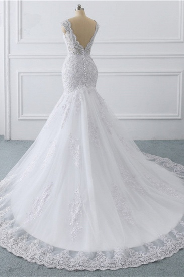 BMbridal Gorgeous V-Neck Tulle Lace Wedding Dress Sleeveless Mermaid Appliques Bridal Gowns On Sale_5