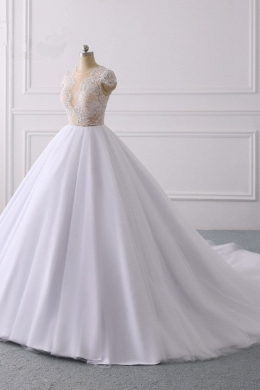 BMbridal Modern Ball Gown Jewel Tulle Ruffles Lace Wedding Dress Appliques Short-Sleeves Bridal Gowns On Sale_4