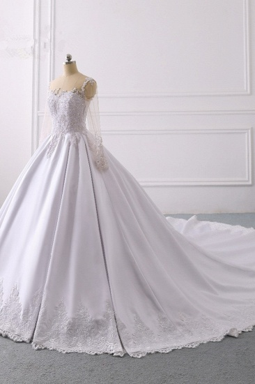 Glamorous Ball Gown Jewel Satin Tulle Wedding Dress Long Sleeves Ruffles Lace Bridal Gowns Online_4