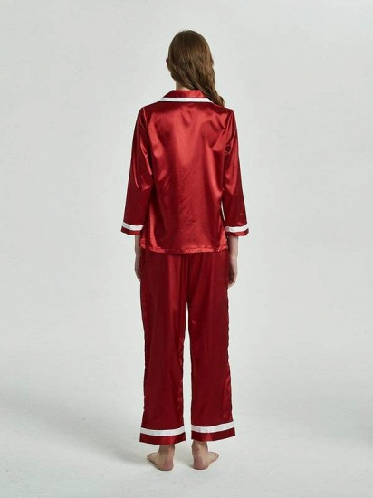 BMbridal Burgundy Matching Pajamas Sets with Long Sleeves On Sale_2