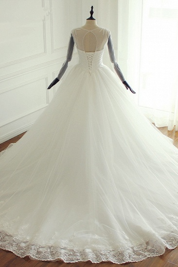 BMbridal Stylish Jewel Long Sleeves Tulle Wedding Dress Pearls Lace Appliques Bridal Gown with Crystals On Sale_3