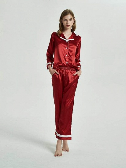 BMbridal Burgundy Matching Pajamas Sets with Long Sleeves On Sale_3