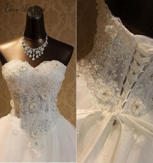 BMbridal Elegant Strapless Tulle Ball Gown Wedding Dress Appliques Sequined Sweetheart Bridal Gowns On Sale_3