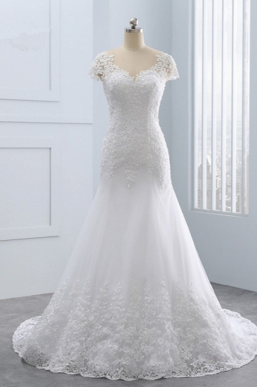 BMbridal Chic Jewel Mermaid Tulle Lace Wedding Dress Short-Sleeves Beadings Appliques Bridal Gowns On Sale_1