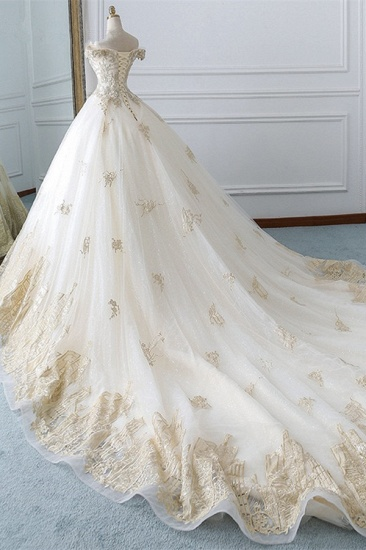 Chic Off-the-Shoulder White Tulle Wedding Dress Sweetheart Sleeveless Champagne Appliques Bridal Gowns Online_3