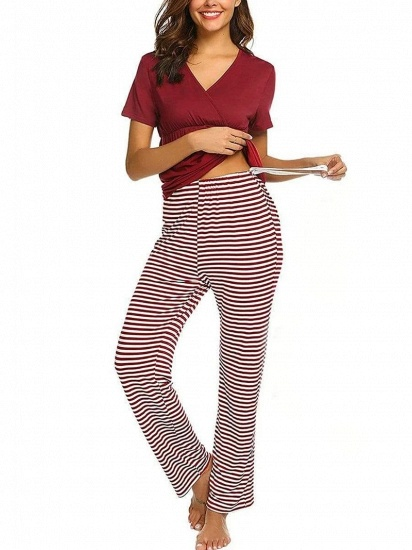 BMbridal Fashion Burgundy Casual Maternity Suit with Short Sleeves_6