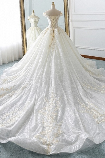 Sparkly Sequined Off-the-Shoulder Wedding Dress Ball Gown Sweetheart Appliques Bridal Gowns Online_3