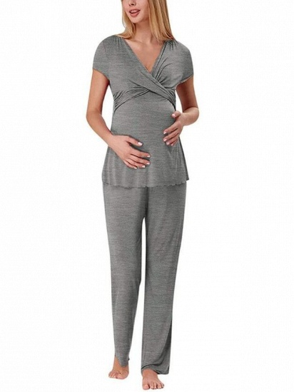 BMbridal Soft Short Sleeve Solid Color Maternity Breastfeeding Suit_2
